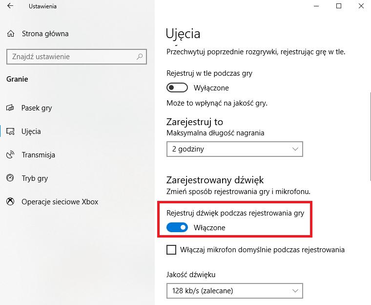 nagrywaj dźwięk w trakcie grania windows 10