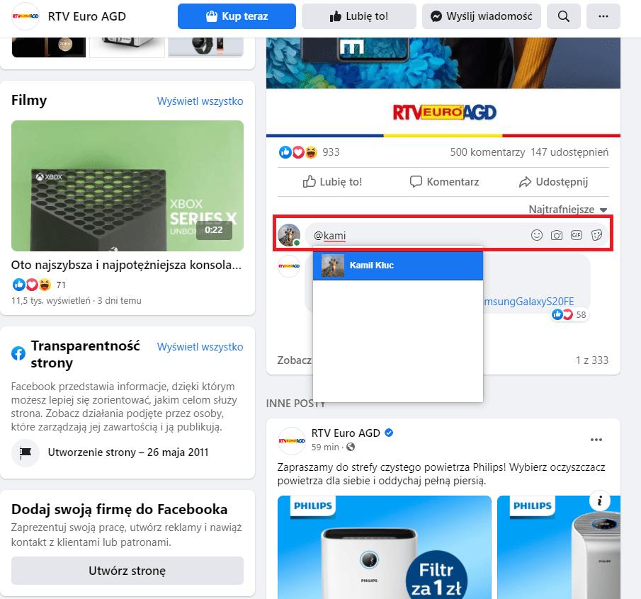 instrukcja jak oznaczyć kogoś w poście na fb